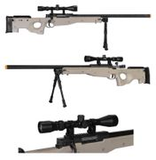 Well Type 96 L96 AWP Bolt Action Airsoft Sniper Rifle with Scope and Bi-pod in Tan MB01