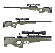 Well Type 96 L96 AWP Bolt Action Airsoft Sniper Rifle with Fluted Bolt Carrier with Scope in OD Green MB15