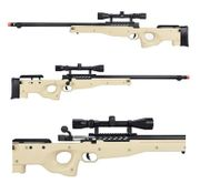 Well Type 96 L96 AWP Bolt Action Airsoft Sniper Rifle with Fluted Bolt Carrier with Scope in Tan MB15