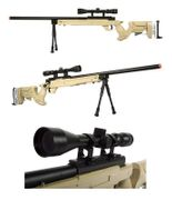 Well Type 97 L97 SR22 Bolt Action Airsoft Sniper Rifle with Scope, Bi-pod, and Adjustable Length Stock in Tan MB05