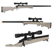 Well VSR-10 M700 Bolt Action Airsoft Sniper Rifle with Scope in Tan MB03