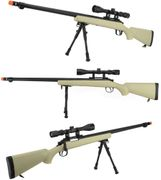 Well VSR-10 M700 Bolt Action Fluted Barrel Airsoft Sniper Rifle with Scope and Bipod in Tan MB07