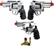 "WinGun Metal 2"" Stubby CO2 Powered High Power Airsoft Gun Revolver in Silver Chrome CNB-708S"