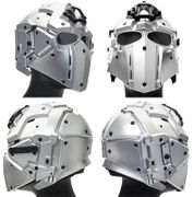 Wosport Tactical Cyborg Droid Obsidian Helmet with NVG Mount, Transfer Base, and FAN in Silver