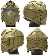 Airsoft Tactical Cyborg Droid Obsidian Helmet with NVG Mount, Transfer Base, and FAN in Tan