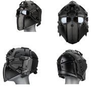 Wosport Tactical Cyborg Droid Obsidian Helmet with NVG Mount, Transfer Base, and FAN in Black