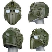 Wosport Tactical Cyborg Droid Obsidian Helmet with NVG Mount, Transfer Base, and FAN in Green
