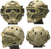 Maritime PJ Style ATH Tactical G4 Bump Helmet System with Face Mask and Goggles in Desert Digital Marpat Camo