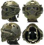 Maritime PJ Style ATH Tactical G4 Bump Helmet System with Face Mask and Goggles in OD Green