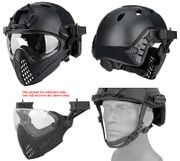 Maritime PJ Style ATH Tactical Piloteer Bump Helmet Face Mask with Adapter in Black