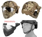 Maritime PJ Style ATH Tactical Piloteer Bump Helmet Face Mask with Adapter in HLD Camo
