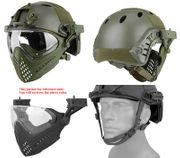 Maritime PJ Style ATH Tactical Piloteer Bump Helmet Face Mask with Adapter in Olive Drab Green