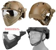 Maritime PJ Style ATH Tactical Piloteer Bump Helmet Face Mask with Adapter in Tan