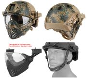 Maritime PJ Style ATH Tactical Piloteer Bump Helmet Face Mask with Adapter in Woodland Digital Marpat Camo