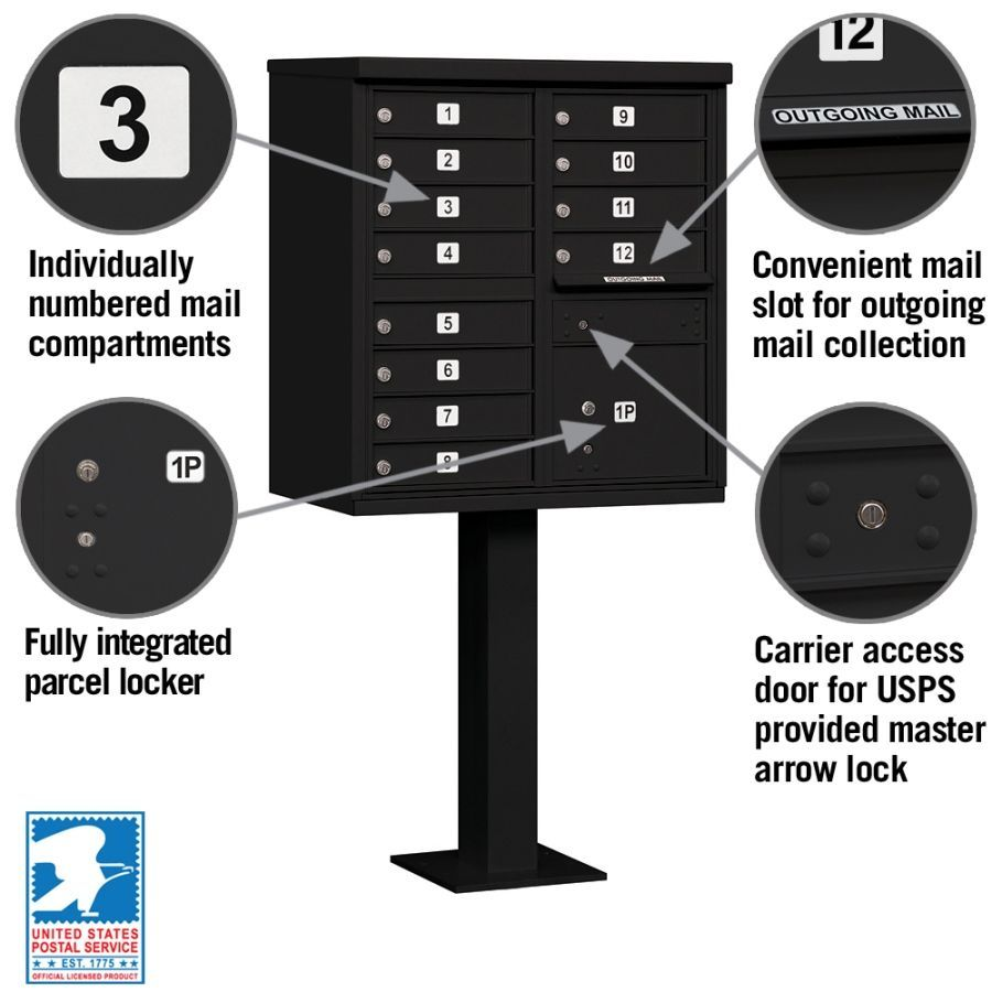 Cluster Box Unit - 12 A Size Doors - Type II - Black - USPS Access