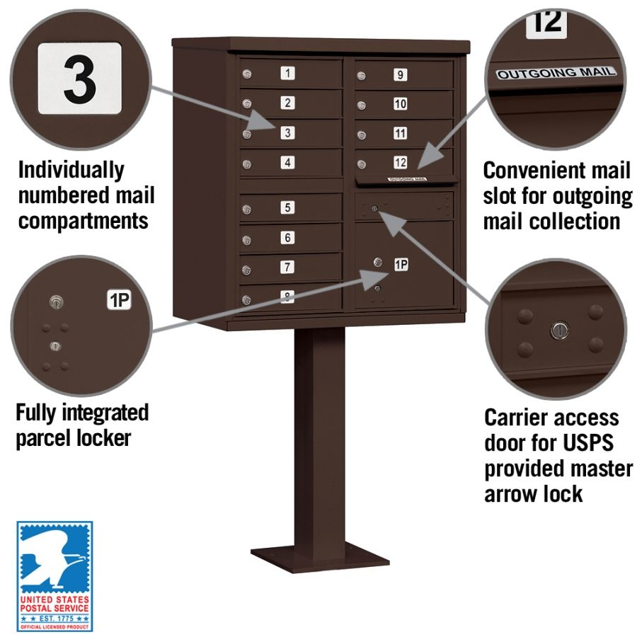12 Door CBU Mailbox - Bronze