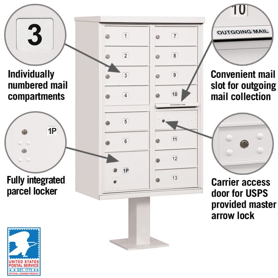 13 Door CBU Mailbox - White