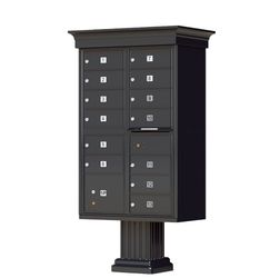 Black Cluster Box Unit with Crown Cap and Pillar Pedestal accessories - 13 compartment
