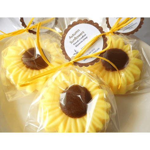 10 Autumn Sunflower Soap Favors