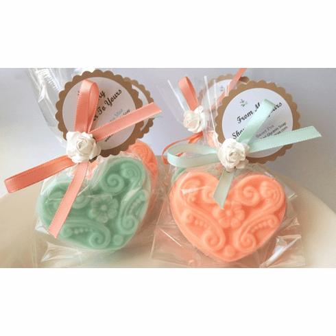 20 Mint and Coral Soap Party Favors