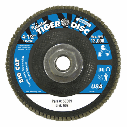"Big Cat High Density Flat Style Flap Discs, 4.5"", 60 Grit, 5/8 Arbor, 12,000 rpm"