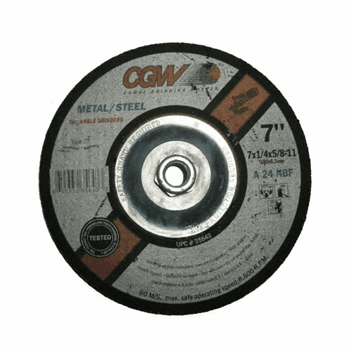 "CGW 7-1/4"" x 5/8""-11 Abrasives Depressed Center Wheels-Grinding, Type 27 No. 35643"