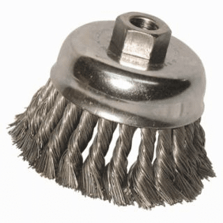 Knot Wire Cup Brush, 4 in Dia., 5/8-11 Arbor, .02 in Carbon Steel