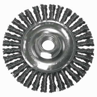 Stringer Bead Wheel Brush, 4 in D x 4 in W, 0.02 in Carbon Steel Wire No. 4S58