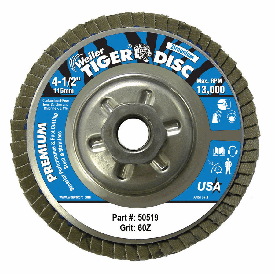 """Tiger Disc Angled Style Flap Discs, 4 1/2"""", 60 Grit, 5/8 Arbor, Aluminum Back"""