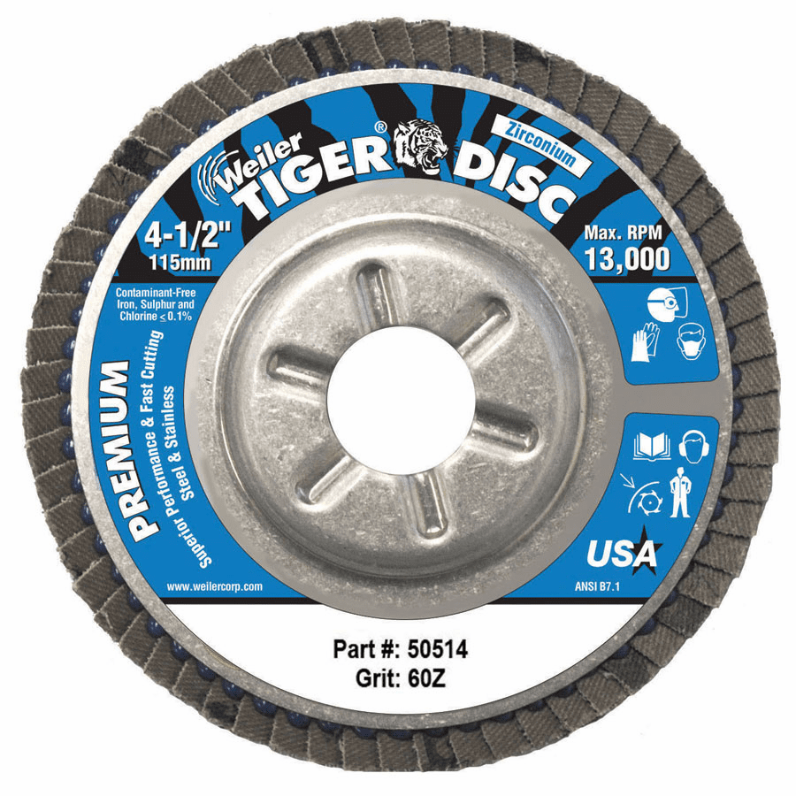 """Tiger Disc Angled Style Flap Discs, 4 1/2"""", 60 Grit, 7/8 Arbor, Aluminum Back"""