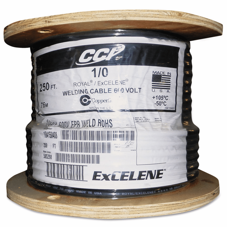 Welding Cable, Black, 1/0 AWG, 250 ft