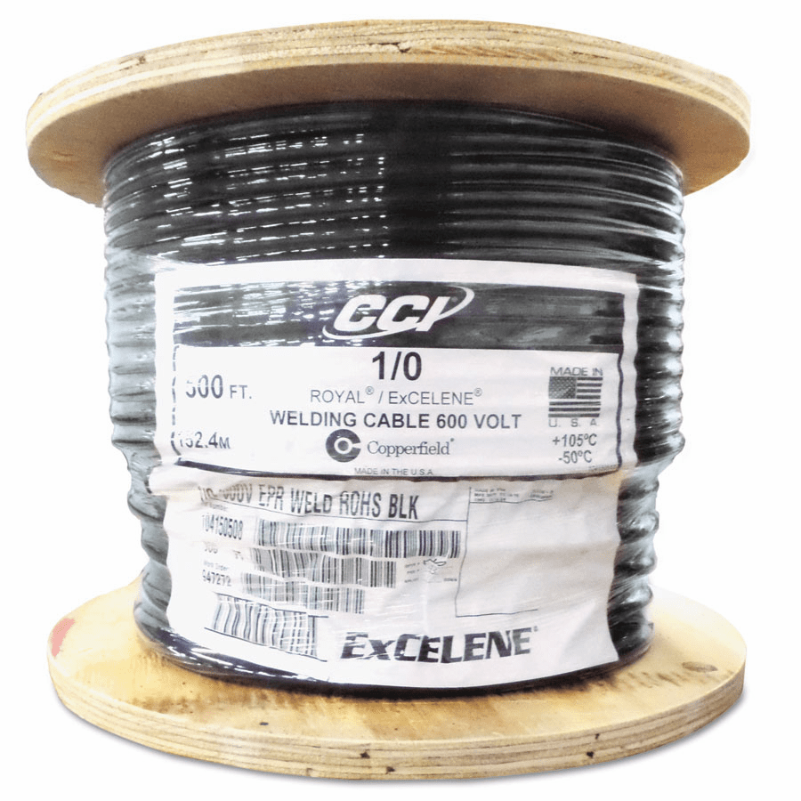 """Welding Cable with Foot Markings, 0.08"""" Insulation, 1/0 AWG, 500 ft, Black"""