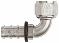 -12 90� Push-On Hose End - Aluminum - Super Nickel Plated