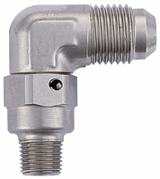 "Adapter, -6 Flare 90� to 1/8 NPT with 0.260"" ID - Steel"