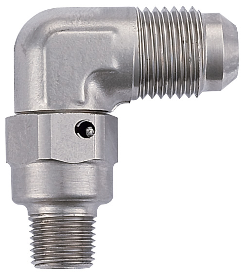 """Adapter, -6 Flare 90¼ to 1/8 NPT with 0.260"""" ID - Steel"""