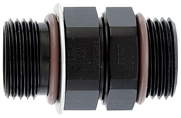 Coupler, Male -12  ORB to Male -12 ORB - Aluminum - Black Anodized