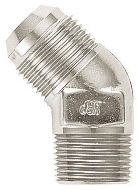 Elbow, 45¼, -12 Flare to 3/4 NPT - Aluminum - Super Nickel Plated