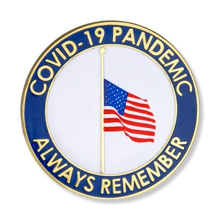 """1-1/4 Inch """"Always Remember"""" with U.S. Flag at Half Mast Lapel Pin"""