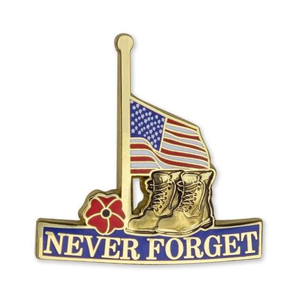 """1-1/4 Inch Half Mast American Flag """"Never Forget"""" with Military Boots and Red Poppy Lapel Pin"""