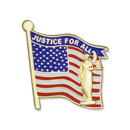 """1-1/4 x 1-1/16 Inch """"Justice For All"""" American Flag Enameled Lapel Pin"""