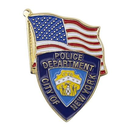 1-1/8 Inch Enameled NYPD and American Flag Lapel Pin