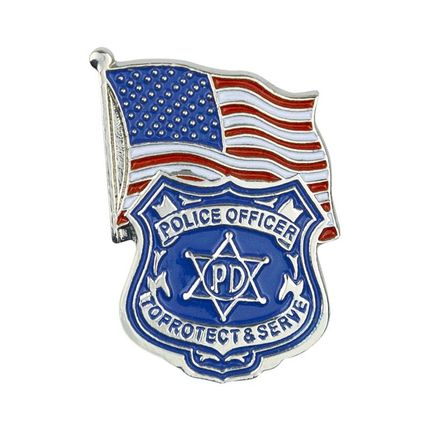 1-1/8 Inch Enameled Police Officer Badge and American Flag Lapel Pin