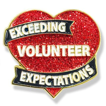 1-1/8 Inch Sparkling Exceeding Volunteer Expectations Heart Lapel Pin