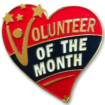 1-1/8 Inch Volunteer of the Month Heart Lapel Pin