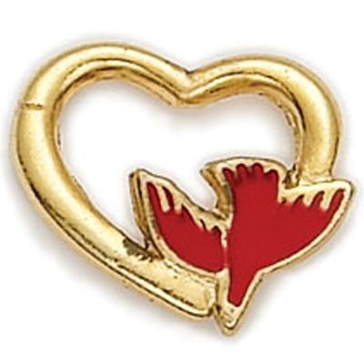 1/2 Inch Gold Heart with Enameled Red Dove Lapel Pin