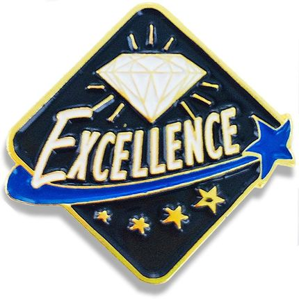1 Inch Excellence with Diamond and Stars Enameled Lapel Pin