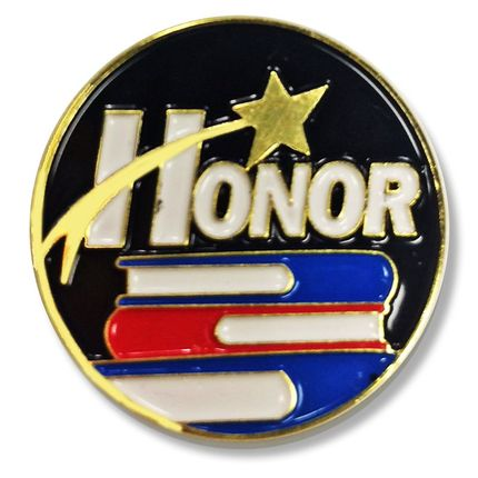 1 Inch Honor with Star Enameled Lapel Pin