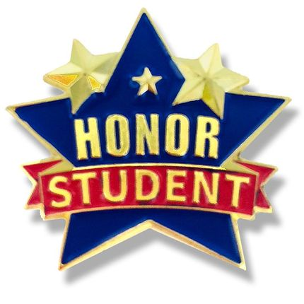 1 Inch Star Honor Student Enameled Lapel Pin