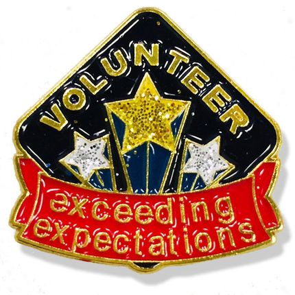 1 Inch Volunteer Exceeding Expectations with Shooting Stars Lapel Pin