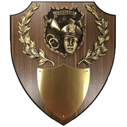 11 x 13 Inch Police Officer Shield Plaque with Gold Laurel Wreaths